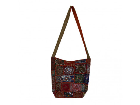 The Living Craft Adda Embroidery Patchwork Women's JHOLA Multicolor TLCBG0276