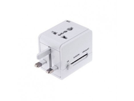 All In One Travel Universal Adapter White (UK-EUROPE-USA-AUS)