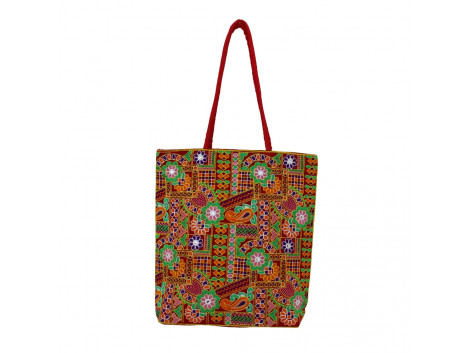The Living Craft Gamthi Embroidered Women's TOTE Multicolor TLCBG0309