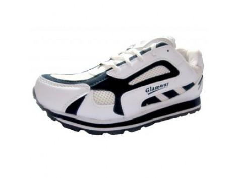 Glamour Mens Synthetic White Blue Sports Shoes (ART-4002)