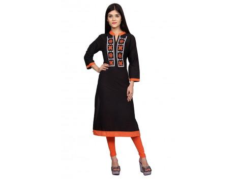 Pezzava Black Color Cotton Womens Kurti