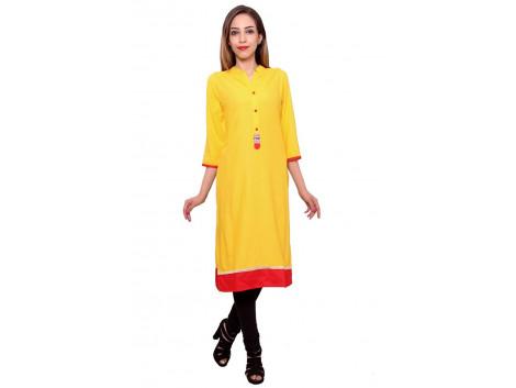 Pezzava Beautiful Rayon Solid Yellow Kurti
