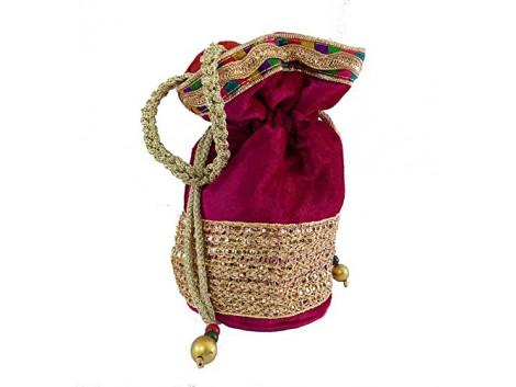 Brown Leaf potli bag for women Girls Ladies pink