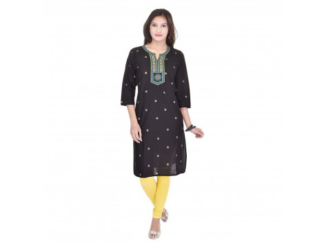 Pezzava Beautiful Cotton Printed Black ColourKurti