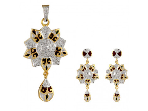 Traditional American Diamond Meenakari Pendant Set 5785