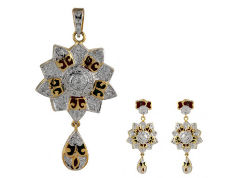 Traditional American Diamond Meenakari Pendant Set 5836