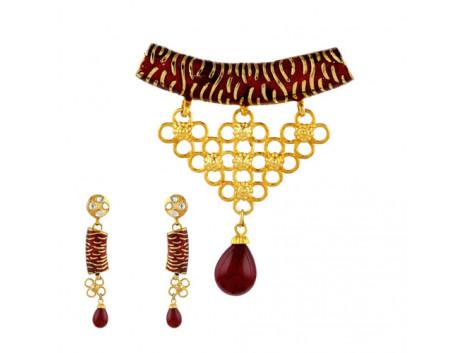 Traditional American Diamond Meenakari Pendant Set 5854