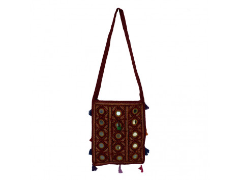 The Living Craft ETHNIC WOMEN's SLING BAG with KUTCH EMBROIDERY & MIRROR WORK Maroon TLCBG0229
