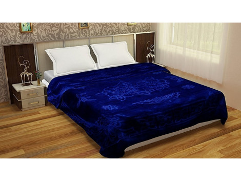 JaipurCrafts Solid Color Ultra Silky Soft Heavy Duty Quality Indian Mink Blanket 6.6 lbs Double Blue