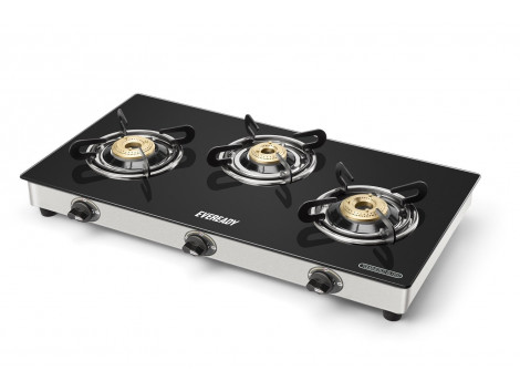 Eveready GS TGC3B Stainless Steel 3 Burner Glass-Top Gas Stove, Black