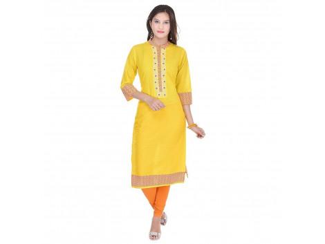 Pezzava Beautiful Cotton Printed Yellow ColourKurti