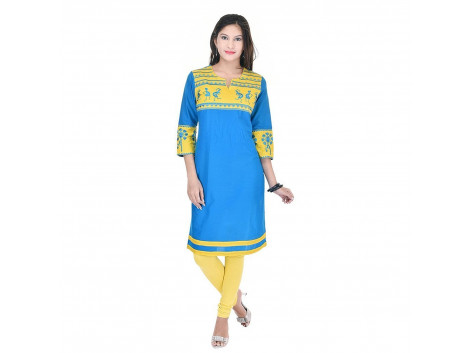 Pezzava Beautiful Cotton Solid Blue&Yellow ColourKurti