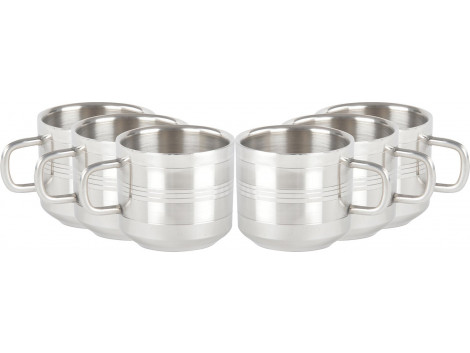 GOKUL Stainless Steel Fancy Design Tea Cup Set, 100 ml, 6 Pieces