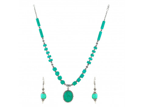 Archiecs Creations Turquoise Metal Oxidised Chain Necklace with Pair of Earring for Women