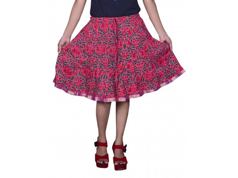 Pezzava Beautiful Cotton Printed Red S.Skirt