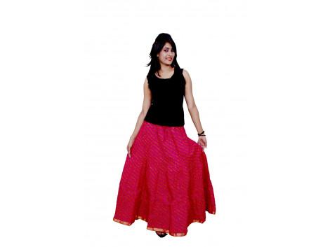 Archiecs Creations Women's Cotton Regular Fit Leheriya Printed Long Skirt