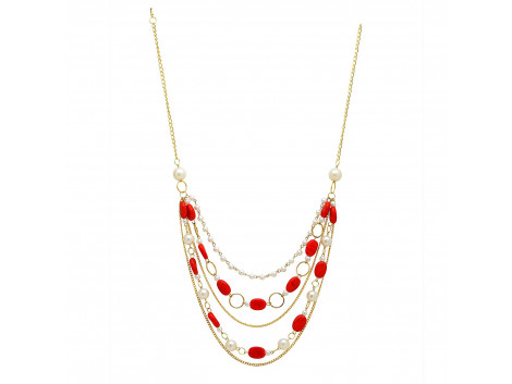 Archiecs Creations Alloy Artificial Stone & pearl Stud Red Chain Neckpiece for Women