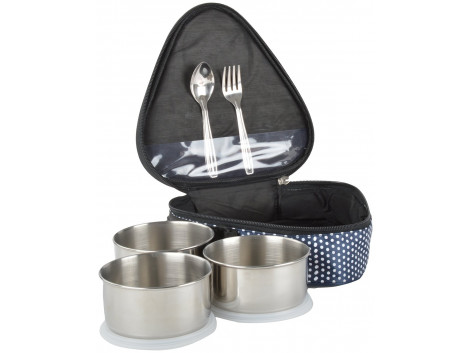 GOKUL Stainless Steel Hot Meal Tiffin Box, 5 Pieces (Color may Vary)