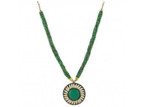 Archiecs Creations Green Brass Multi-Strand Necklace for Women
