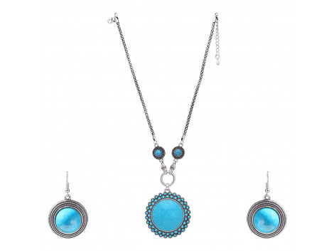 Archiecs Creations Oxidised White Metal with Artificial Stone Embellished Chain Neckpiece with Pair of Earring for Women
