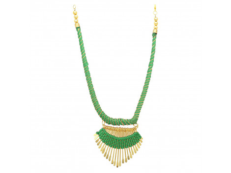 Archiecs Creations Alloy Silk Thread Green & Golden Charm Necklace for Women