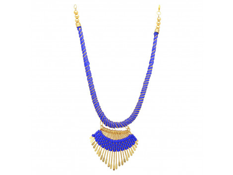 Archiecs Creations Alloy Silk Thread Blue & Golden Charm Necklace for Women