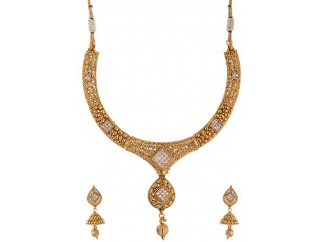 SPE Golden Color Choker Necklace Set for Women (SPE N 51)