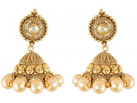 SPE Indian Ethanics Gold Metal Jhumki Earrings for Women (SPE-E-10)