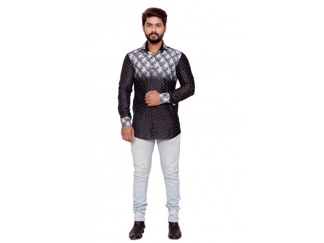 Pezzava Cotton Party Wear Shirt For Men's