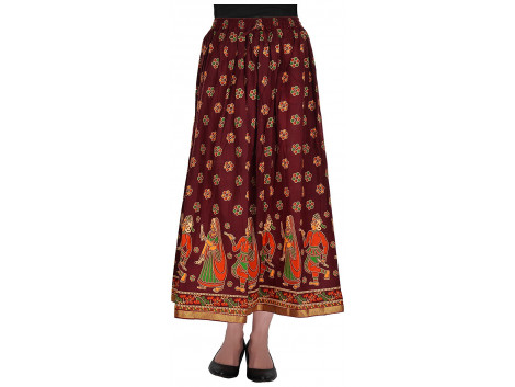Archiecs Creations Women's Cotton Regular Fit Skirt (Maroon)-Free Size