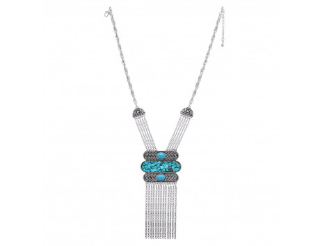 Archiecs Creations Oxidised White Metal Turquoise Chain Necklace for Women