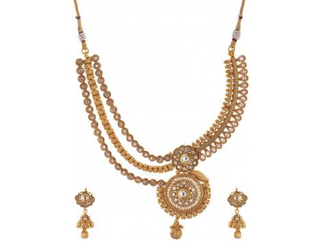 SPE Golden Color Multi-Strand Necklace Set for Women (SPE N 22)