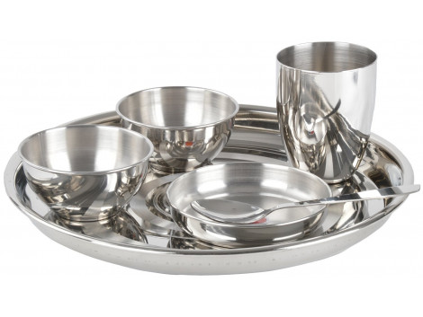 GOKUL Stainless Steel Fluidic Dinner Set , 6 Pieces