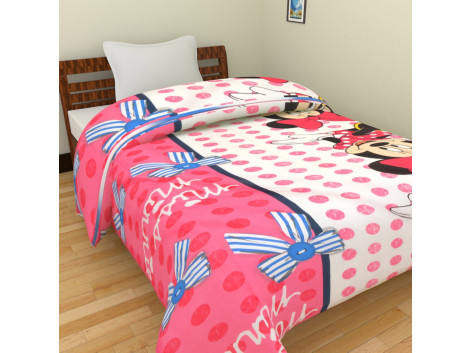 KRISHNA Cartoon Minny Mouse Print Single Ac Blanket - Pink White