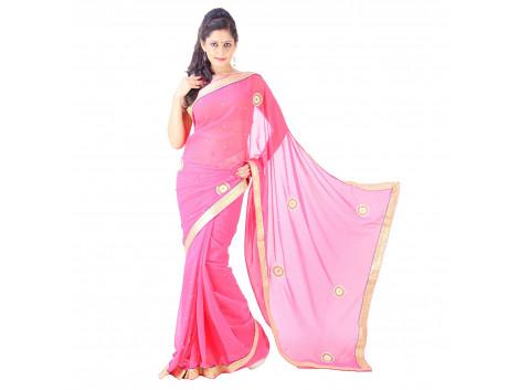 Archiecs Creations Adorning Jaipuri Moti Work Chiffon Saree (With Blouse Piece) - Light Pink