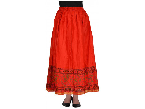 Archiecs Creations Women's Cotton Regular Fit Skirt (Red)-Free Size