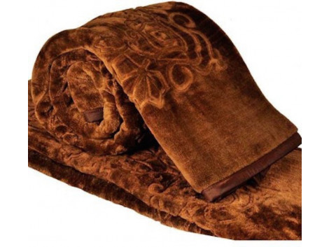 JaipurCrafts Solid Color Ultra Silky Soft Heavy Duty Quality Indian Mink Blanket 6.6 lbs Double Brown