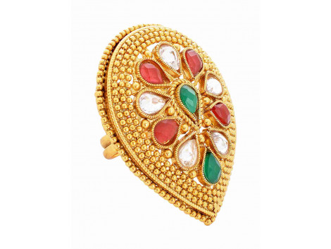 SPE Indian Ethnics Golden Ring for Women - Free Size (R-23)