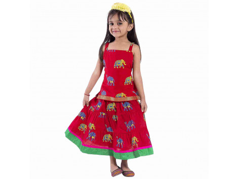 Archiecs Creations Beautiful Camel Motifs Lehanga Choli Set For Girls As a Skirt with Top set--Raksha Bandhan special For Kds skirt (rakhi Gift For kid & Baby Girls)