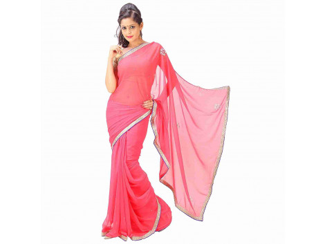 Archiecs Creations Elegant Jaipuri Chandla Work Chiffon Saree (With Blouse Piece) - Light Peach