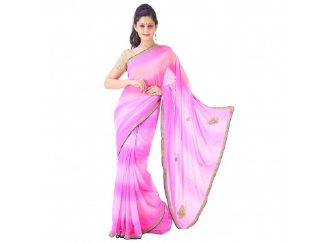 Archiecs Creations Beautiful Jaipuri Nakashi Work Georgette Saree (With Blouse Piece) - Pink