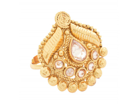 SPE Indian Ethnics Golden Ring for Women - Free Size (R-03)