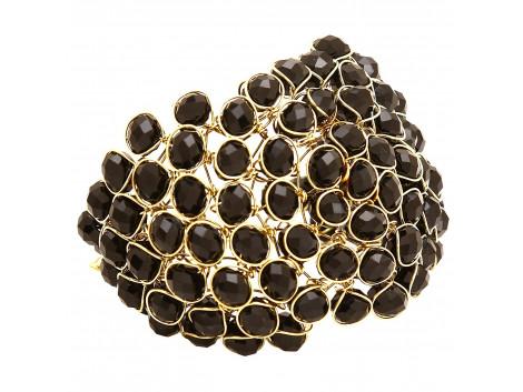 Archiecs Creations Glass Crystal Studded Black Alloy Bracelet for Women