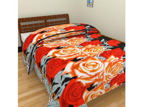 Red Brown Flower Single Bed Blankets