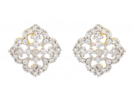 SPE Indian Ethnics Silver Brass Stud Earrings for Women (TS-03)