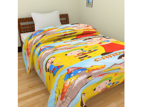 KRISHNA Cartoon Candy World With Chota Bheem Print Single Ac Blanket - Multicolour