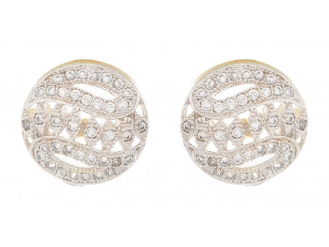 SPE Indian Ethnics Silver Brass Stud Earrings for Women (TS-02)