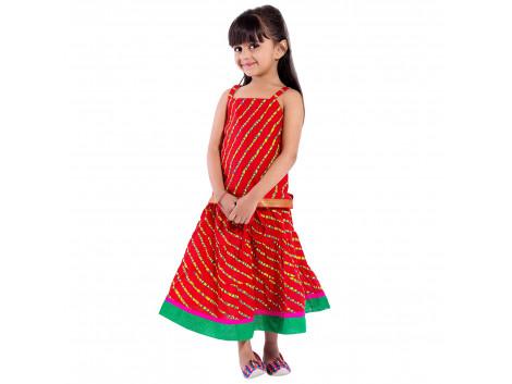 Archiecs Creations Beautiful Lehariya Lehanga Choli Set For Girls As a Skirt with Top set