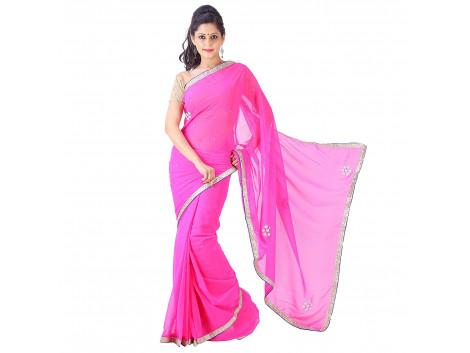 Archiecs Creations Elegant Jaipuri Chandla Work Chiffon Saree (With Blouse Piece) - Pink