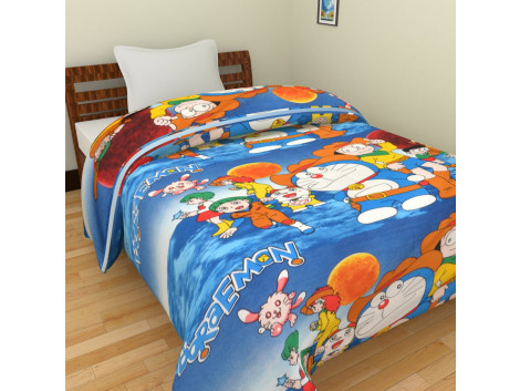 KRISHNA Cartoon Blue Doromen Print Single Ac Blanket - Blue